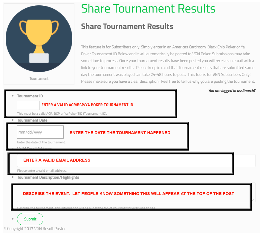 Poker Tournament Results
