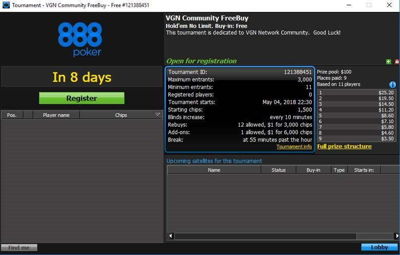 888 Poker VGN Community Freeroll Password