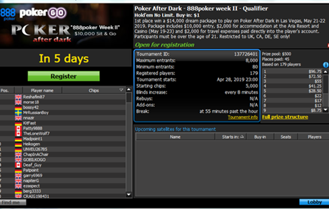 888 Poker After Dark Lobby