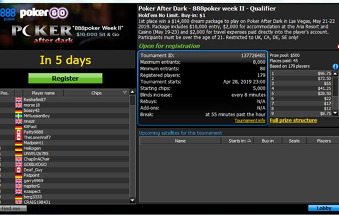 888 Poker After Dark Lobby