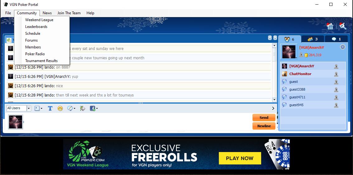 VGN Poker Portal Screenshot